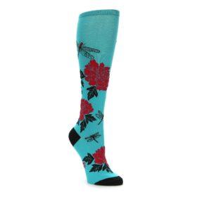 Teal Red Black peonies women's knee high socks