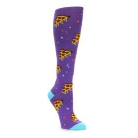 Purple Blue Yellow Pizza party women's knee high socks