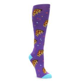 Purple Blue Yellow Pizza party women's knee high socks