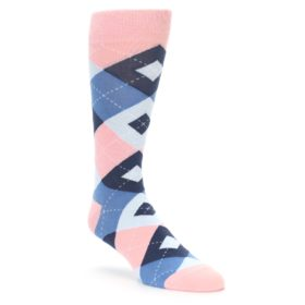 Pink and Navy Wedding Groomsmen Socks