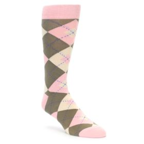 Pink Brown Argyle Wedding Socks