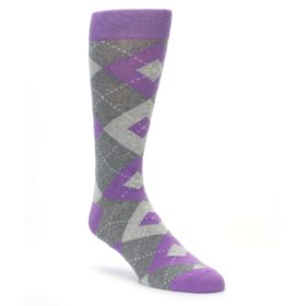 Wisteria Purple Argyle Socks for Wedding