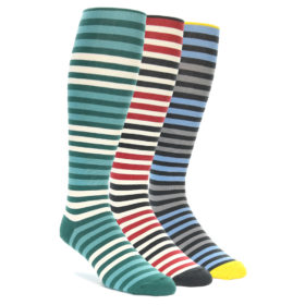 Over the Calf Block Stripe Men's Sock Set