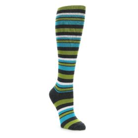 Blue Green Stripe Knee High Sock by Socksmith