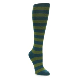 Teal Olive Green Stripe Knee Socks