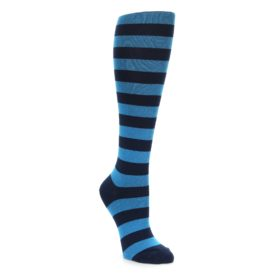 Turquoise Navy Stripe Knee High Socks for Women