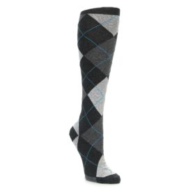 Charcoal Grey Argyle Knee Socks for Women