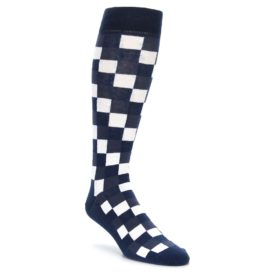 Navy Checker Box Over the Calf Dress Socks