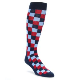 Navy Red Checker Box Over the Calf Socks