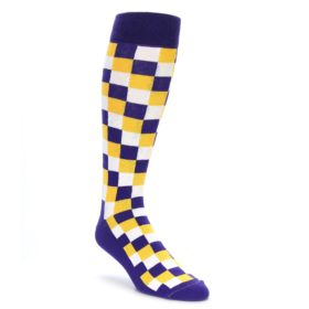 Purple Yellow Over the Calf Dress Socks