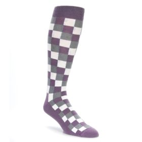 Lavender Checker Over the Calf Socks