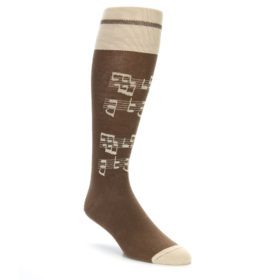 Brown Music Over the Calf Socks