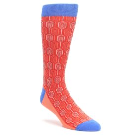 Permission-Red-Blue-Feather-Optics-Mens-Dress-Socks-Statement-Sockwear