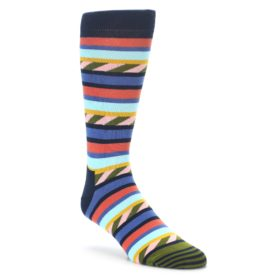 Blue Orange Multicolor dress socks happy socks