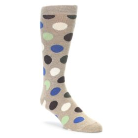 Tan brown white dots men's dress socks happy socks