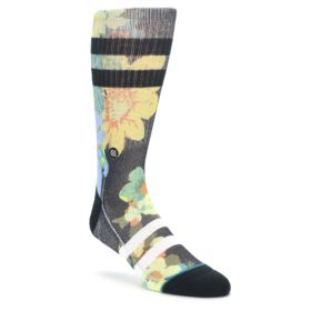 STANCE black green yellow corsage flowers men's socks