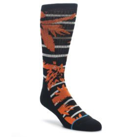 Orange Black St. Nick men's casual socks from STANCE