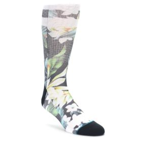 Stance men's dress socks green black white flowers