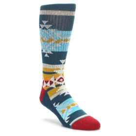 STANCE green red blue pattern men's dress socks