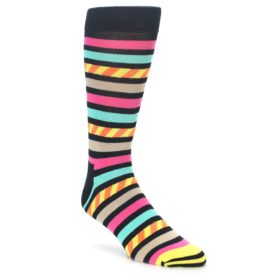 King Size Happy Socks Black Multi Color Stripe - Extra Large Big and Tall
