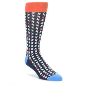 Navy Orange Houndstooth Socks by Statement Sockwear