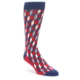 Red Filled Optical Pattern Men's Socks by Statement Sockwear