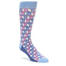 Cube Pattern Socks in Blue and Pink by Statement Sockwear