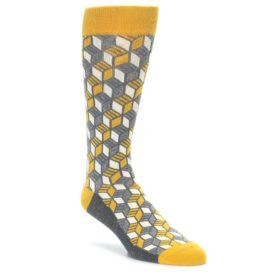 Mustard Yellow Cube Pattern Men's Dress Socks by Statement Sockwear