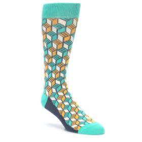 Teal Orange Cube Socks by Statement Sockwear