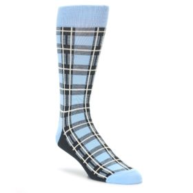 Blue Plaid Men's Dress Socks by Statement Sockwear