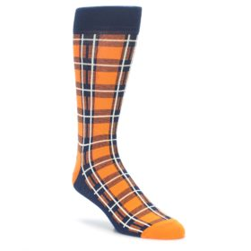 Orange and Navy Plaid Dress Socks by Statement Sockwear
