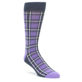 Purple Plaid Socks for Men