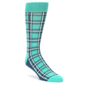 Teal Plaid Men's Dress Socks