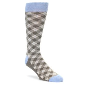 Heathered brown Plaid socks for Men by Statement Sockwear