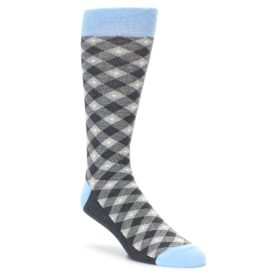 Gray Diamond Plaid Men's Dress Socks