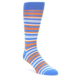 Blue Orange Stripe Socks by Statement Sockwear