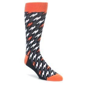 Orange Houndstooth Socks for Men by Statement Sockwear