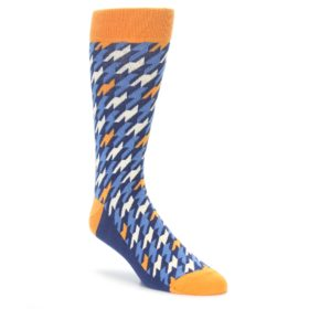 Statement Sockwear Blue Orange Houndstooth Socks for Men