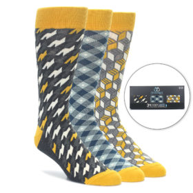 Mustard Yellow Men's Socks Gift Box 3 Pack