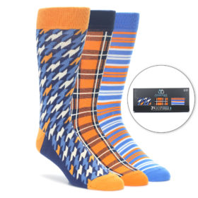 Orange Blue Sock Gift Box 3 Pack for Men by Statement Sockwear