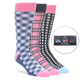 Pink Men's Sock Gift Box 3 Pack by Statement Sockwear
