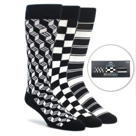 Black and White Sock Gift Box Set 3 Pack by Statement Sockwear