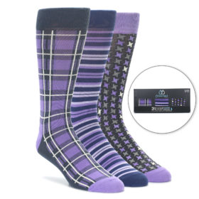 Purple Socks Gift Box 3 Pack for Men by Statement Sockwear