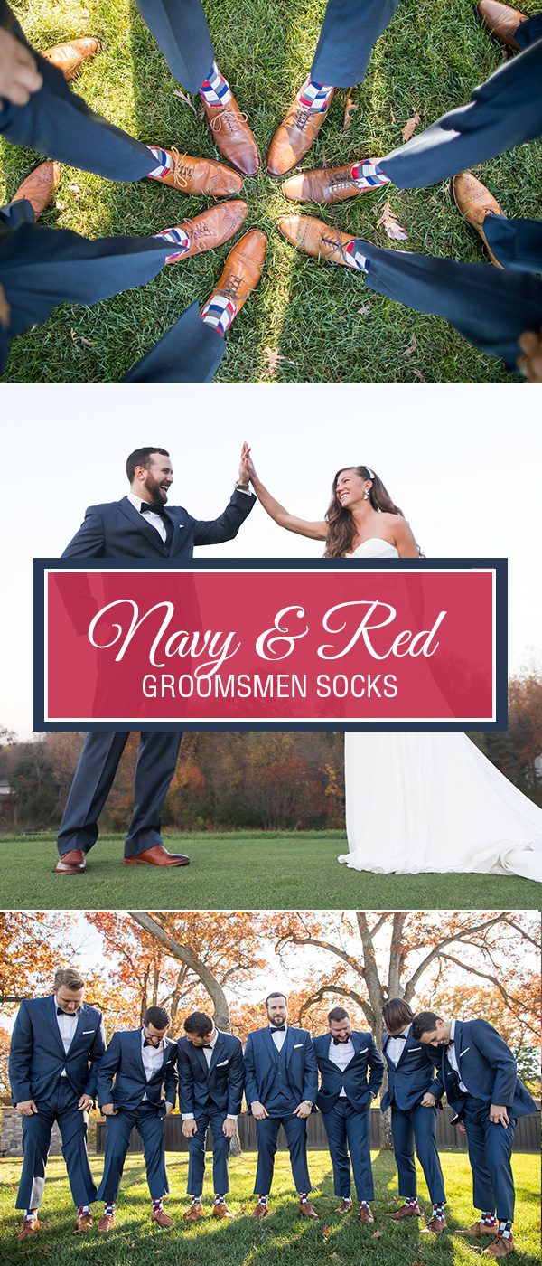 Navy and Red Groomsmen Socks
