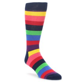 Happy Socks Extra Large Navy Multi Color Stripe Socks Big and Tall