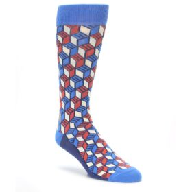 Statement Sockwear Blue Red Cube Optical Men's Socks