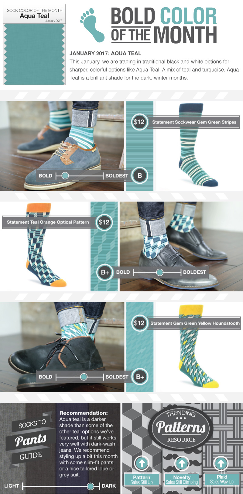 January 2017 - Teal Aqua Sock Color of the Month
