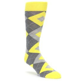 Lemon Yellow Argyle Wedding Groomsmen Socks by Statement Sockwear