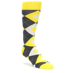 Daisy Yellow Gray Argyle Wedding Socks