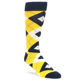 Golden Yellow Navy Argyle Groomsmen Wedding Socks